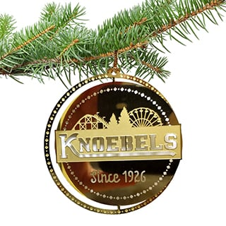 Knoebels Ornament - Brass Gold Logo